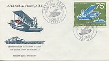 FIRST DAY COVER / PREMIER JOUR POLYNESIE / PAPEETE UN DEMI SIECLE AVIATION 1975