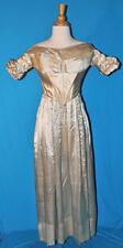 ANTIQUE DRESS c1838 LADY'S SILK SATIN GOWN ALL HAND STITCHED MUSEUM DE-ACCESSION