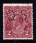 Australia 1924 King George V 2d Deep Red-Brown Single Wmk Perf OS Used - Variety