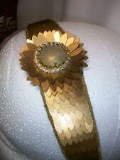 NWT Deepa Gurnani Crystal Stretch Luxury Statement Headband gold flower OSFM $48