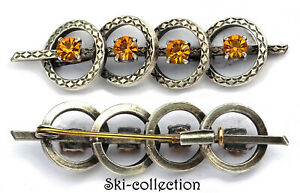 Superb Antique Brooch Jewelry 4 Pierres. Silvered, XIX - Xx) S.France