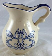 Antique Pennsylvania Dutch Hand Painted Blue Hearts Birds Leaves Milk Pitcher