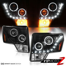 2009-2014 Ford F150 FX2 FX4 Black LED DRL Halo Projector Headlights LEFT+RIGHT