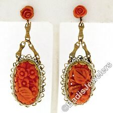 Antique 14k Yellow Gold Long Carved Rose Flower Coral Seed Pearl Dangle Earrings