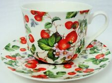 Strawberry Fields Large Cup & Saucer Bone China Strawberries Breakfast Set UK