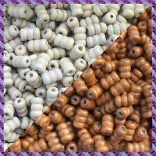 100 Perles Legno Tubo 2 coloris Marrone chiaro / Ecru
