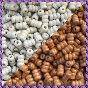 100 Perles Bois Tube 2 coloris Marron clair / Ecru