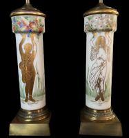"Antique Bristol Glass & Brass Art Deco Hand Painted Figural Lamp Pair 38""H 6.5""W"