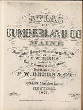 1871 CUMBERLAND COUNTY plat maps MAINE old GENEALOGY Atlas LAND OWNERSHIP P51