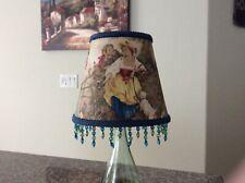 Beaded Fragonard Cornflower Blue Yellow French Country Toile Lamp Shade 5x8x7