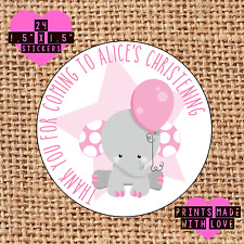 Personalised 24 Christening / Naming Day stickers party labels pink elephant b