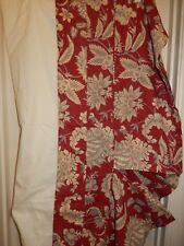 Pottery Barn Margaret Palampore Red Ivory Blue Linen Blend Floral King Bed Skirt