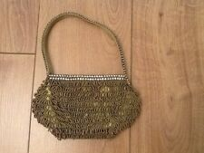 New Ladies Vintage Gold Colour Beaded/Diamante Evening Bag