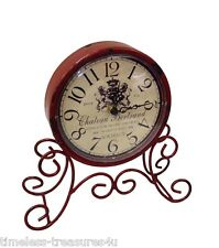 METAL MANTLE CLOCK RUSTIC FRENCH PROVINCIAL SHABBY CHIC RED DESK SHELF 23cm NEW