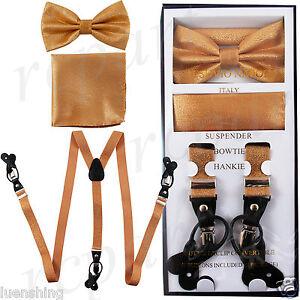 New in box Men's Convertible Elastic Strap glitter gold Suspender_Bowtie Hankie