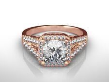 Ring Enhanced Rose Gold 18K 3 Ct Princess D/Si1 Diamond Solitaire
