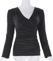 Womens Wrap V-Neck Long Sleeve Tops Plain Slim Fit Casual Cotton T-Shirt Blouse