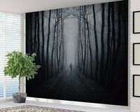 Spooky black and white path in Forest wallpaper photo wall mural (14402714)