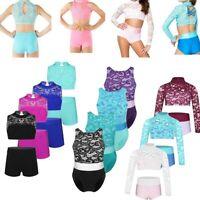 Girls Kids Lace Dance Ballet Crop Top Shorts Gymnastics Sports Dancewear Costume
