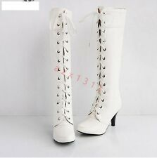 Retro Womens High Heel Lace UP Knee High Boots Faux Leather Ladies Shoes Plus Sz