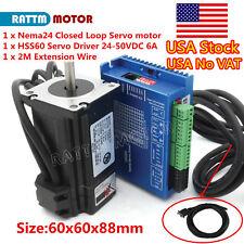 Usa3nm Nema 24 88mm Closed Loop Servo Motor 60a Hss60 Hybrid Driver Cnc Kit