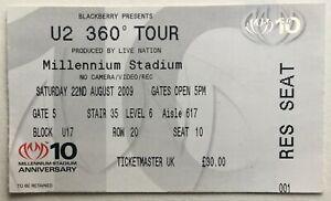 U2 Original Used Concert Ticket Millennium Stadium Cardiff 22nd Aug 2009
