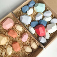 Balancing Stacked Stones Set Coloured Gems Wooden Rocks Baby Building Block Toys