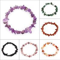 Gemstone Crystal Chip Beaded Stretch Gift Charm Reiki Healing Bracelet Group-66A