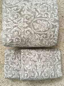 RESTORATION HARDWARE Italian KING Cotton Duvet Cover & 2 Shams Gray Natural