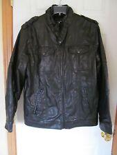 NWT Men's i Jean by Buffalo Leather look Bomber's Jacket/Coat Black Size M