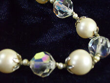 Vendome Faceted Crystal Bead n Pearl Choker Necklace Aurora Borealis Ab Vintage
