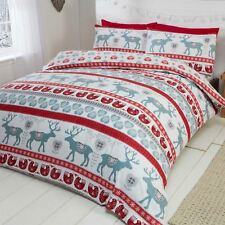 CHRISTMAS SCANDI SINGLE DUVET COVER SET RED BRUSHED COTTON SOFT & COSY