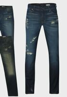 New Mens Slim Fit Ripped Tapered Blue Denim Jeans Distressed