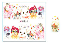 Lovely Cats Tea Cup Nail Art Water Transfer Decal UV Acrylic Polish Tips Design