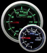 ProSport 52mm Super Ahumado Verde Blanco Medidor de barra de turbo boost conmutable