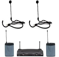 Professional UHF Dual Headset Wireless Microphone with 2 Luxury Headset