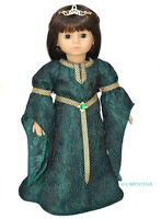 """Green Celtic Princess Dress + Shoes for 18"""" American Girl Doll Halloween Costume"""