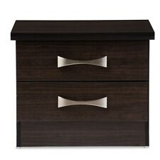 Contemporary 2-Drawer Dark Brown Finish Wood Storage Nightstand Bedside Table