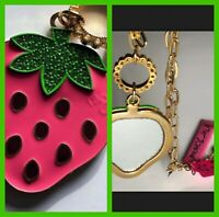 Betsey Johnson Oversized Enameled Pink Strawberry Necklace Pendant Mirror w Tags