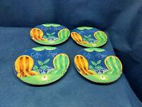 "Vintage Sango Stoneware ""Cafe Paris"" Set/4 Oval Dessert/Luncheon Plates #4914"