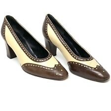 Bruno Magli Spectator Pumps Heels Cream and Brown Shoes Italy 37 USA 6.5 - 7