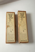 """Pair Antiqued Bisque Jointed Wood Arms Legs Dolls (N7L) 9.5"""" Tall Shackman"""