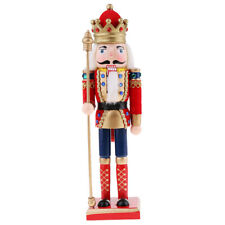MagiDeal 30cm Wooden Fluffy Nutcracker Soldier Figures Xmas Home Decor Red