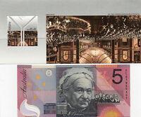2001 AUSTRALIA CENTENARY FEDERATION $5 POLYMER BANKNOTE + COMMEM STAMP