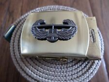 US MILITARY STYLE KHAKI WEB BELT WITH ARMY AIR ASSAULT INSIGNIA BRASS BUCKLE