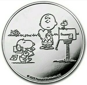 2021 1 Oz Proof Silver PEANUTS® SNOOPY N CHARLIE BROWN VALENTINE Coin.