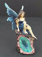 Small Blue Fairy on Crystal Geode Cavern Mythical Statue Fantasy Figurine