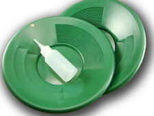 "Lot of 2- 10"" Green Gold Pans w/ Bottle Snuffer-Panning Kit-Prospecting-Mining"