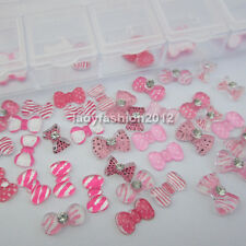 60PCS Pink Zebra 3d resin bow tie design nail art rhinestone decoration jewelry