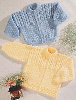 Patons 4948 Vtg Baby Knitting Pattern Cardigan Hoodie 0-3 years DK or 4 ply